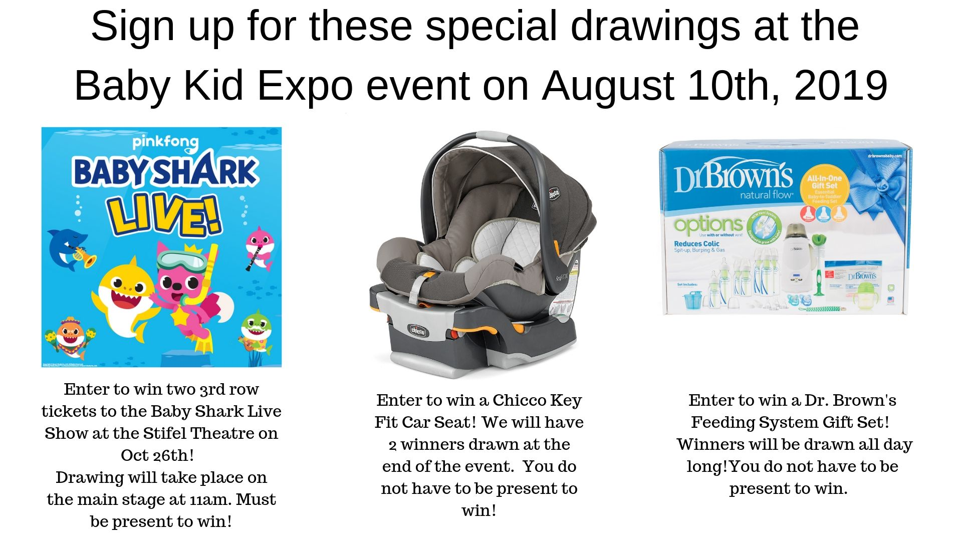 Sign up for these special giveaways at the Baby Kid Expo on August 10th, 2019 (1)